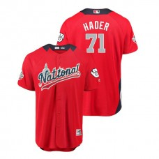 National League #71 Josh Hader Home 2018 MLB All-Star Red Run Derby Jersey