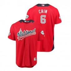 National League #6 Lorenzo Cain Home 2018 MLB All-Star Red Run Derby Jersey