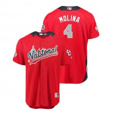National League #4 Yadier Molina Home 2018 MLB All-Star Red Run Derby Jersey