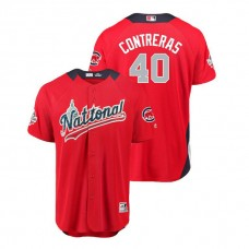 National League #40 Willson Contreras Home 2018 MLB All-Star Red Run Derby Jersey