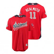 National League #11 J.T. Realmuto Home 2018 MLB All-Star Red Run Derby Jersey