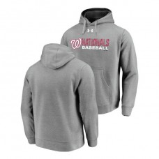 Washington Nationals Under Armour Heathered Gray Commitment Stack Hoodie
