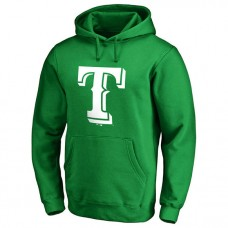 Texas Rangers Kelly Green St. Patrick's Day White Logo Pullover Hoodie