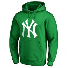 New York Yankees Kelly Green St. Patrick's Day White Logo Pullover Hoodie