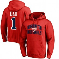 Washington Nationals Father's Day Red #1 Dad Player Pullover Hoodie