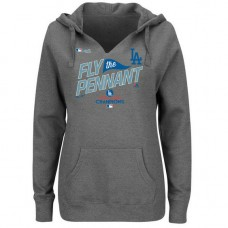 WOMEN - Los Angeles Dodgers 2017 National League Champions Locker Room Pullover Heather Gray Hoodie