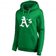 WOMEN - Oakland Athletics Kelly Green St. Patrick's Day White Logo Pullover Hoodie