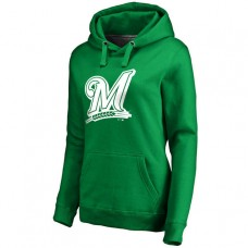 WOMEN - Milwaukee Brewers Kelly Green St. Patrick's Day White Logo Pullover Hoodie
