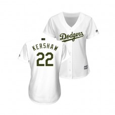 WOMEN - Los Angeles Dodgers White #22 Clayton Kershaw Cool Base Jersey 2018 Memorial Day