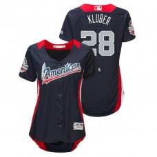 WOMEN - American League #28 Corey Kluber 2018 MLB All-Star Navy Home Run Derby Jersey