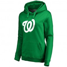 WOMEN - Washington Nationals Kelly Green St. Patrick's Day White Logo Pullover Hoodie