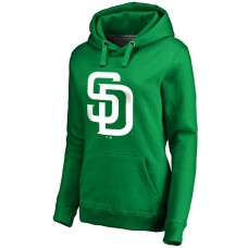 WOMEN - San Diego Padres Kelly Green St. Patrick's Day White Logo Pullover Hoodie