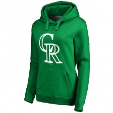 WOMEN - Colorado Rockies Kelly Green St. Patrick's Day White Logo Pullover Hoodie