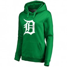 WOMEN - Detroit Detroit Tigers Kelly Green St. Patrick's Day White Logo Pullover Hoodie