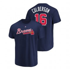 Atlanta Braves #16 Navy Charlie Culberson Name & Number Majestic Official T-Shirt