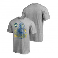 Milwaukee Brewers Star Wars In The Hunt Heather Gray Fanatics Branded T-Shirt