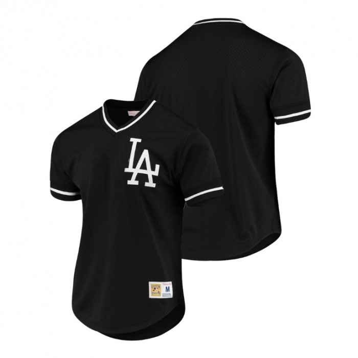 Los Angeles Dodgers Cooperstown Collection Black Mesh V-Neck Jersey