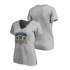 Women - Milwaukee Brewers Bases Heather Gray Majestic V-Neck T-Shirt