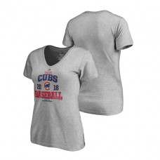 Women - Chicago Cubs Bases Heather Gray Majestic V-Neck T-Shirt