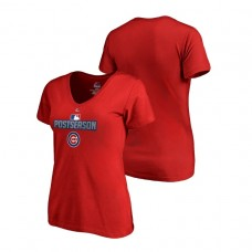 Women - Chicago Cubs Deck Red Majestic V-Neck T-Shirt