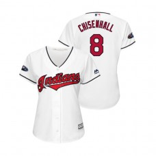 Women - Cleveland Indians White #8 Lonnie Chisenhall Cool Base Jersey