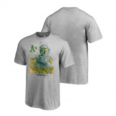 YOUTH Oakland Athletics Star Wars In The Hunt Heather Gray Fanatics Branded T-Shirt
