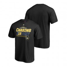 YOUTH Milwaukee Brewers Clincher Locker Room Black 2018 Division Series Majestic T-Shirt