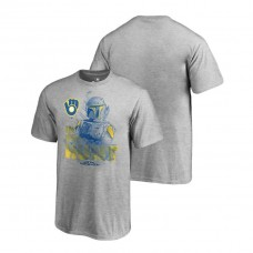 YOUTH Milwaukee Brewers Star Wars In The Hunt Heather Gray Fanatics Branded T-Shirt