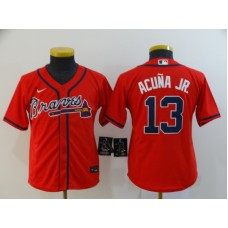 Youth Atlanta Braves #13 Ronald Acuna Jr. Red Stitched Cool Base Jersey