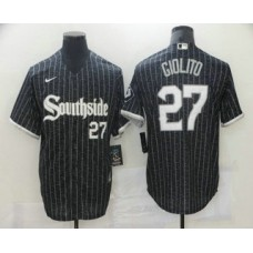 Chicago White Sox #27 Lucas Giolito Black With Small Number 2021 City Connect Stitched Cool Base Jersey