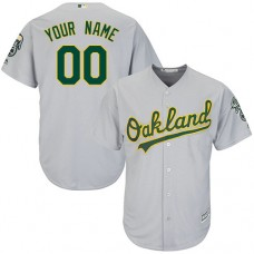 Custom Oakland Athletics Authentic Grey Road Cool Base Jersey
