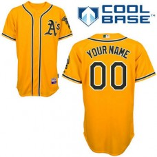 Custom Oakland Athletics Replica Gold Alternate 2 Cool Base Jersey