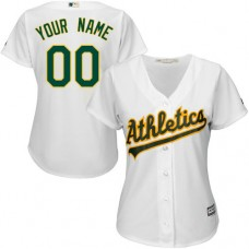 Women's Custom Oakland Athletics Authentic White Home Cool Base Jersey