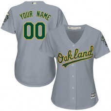 Women's Custom Oakland Athletics Authentic Grey Road Cool Base Jersey