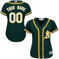 Women's Custom Oakland Athletics Authentic Green Alternate 1 Cool Base Jersey