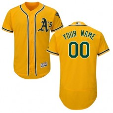 Custom Oakland Athletics Gold Flexbase Authentic Collection Jersey