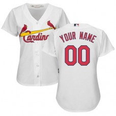 Women's Custom St. Louis Cardinals Authentic White Home Cool Base Jersey