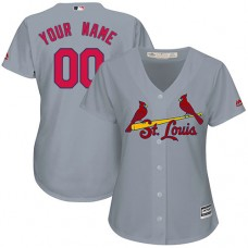Women's Custom St. Louis Cardinals Authentic Grey Road Cool Base Jersey