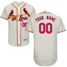 Custom St. Louis Cardinals Cream Flexbase Authentic Collection Jersey
