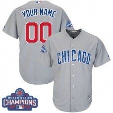 Youth Custom Chicago Cubs Authentic Grey Road 2016 World Series Champions Cool Base Jersey