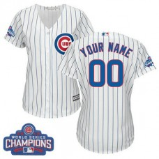 Women's Custom Chicago Cubs Authentic White Home 2016 World Series Champions Cool Base Jersey