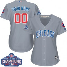 Women's Custom Chicago Cubs Authentic Grey Road 2016 World Series Champions Cool Base Jersey