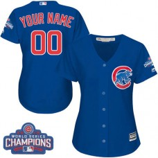 Women's Custom Chicago Cubs Authentic Royal Blue Alternate 2016 World Series Champions Cool Base Jersey