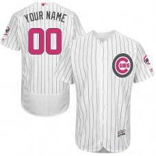 Custom Chicago Cubs Authentic White 2016 Mother's Day Fashion Flex Base Jersey