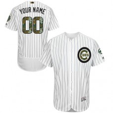 Custom Chicago Cubs Authentic White 2016 Memorial Day Fashion Flex Base Jersey