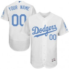 Custom Los Angeles Dodgers Authentic White 2016 Father's Day Fashion Flex Base Jersey