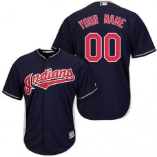 Custom Cleveland Indians Authentic Navy Blue Alternate 1 Cool Base Jersey