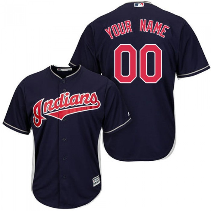Youth Custom Cleveland Indians Authentic Navy Blue Alternate 1 Cool Base Jersey