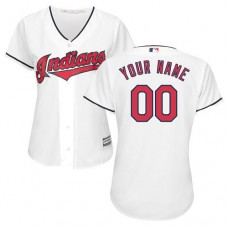 Women's Custom Cleveland Indians Authentic White Home Cool Base Jersey
