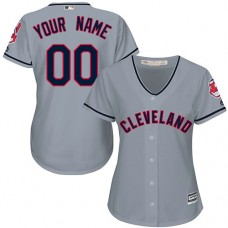 Women's Custom Cleveland Indians Replica Grey Road Cool Base Jersey